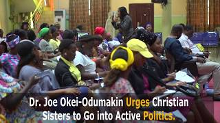 At the Pastors' Seed Family (PSF) of the Redeemed Christian Church of God (RCCG), Dr. Joe Okei-Odumakin enjoined all christian sisters to move beyond making intercession-prayers but get involved in active politics so as to actualize the Nigeria of their dreams and at their own time.#GetInvolved #RCCG