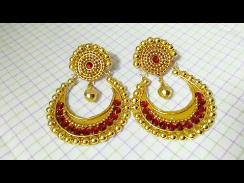 How To Make Designer Earrings // Chandbali Earrings // Paper Jewellery Making //DIY