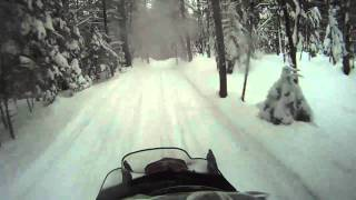 4. Snowmobiling, Yamaha Apex XTX awesome tight trail speeding along almost hit pick up truck