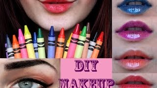 DIY MAKEUP : Crayola Crayon Lipsticks & Gel Eyeliner - YouTube