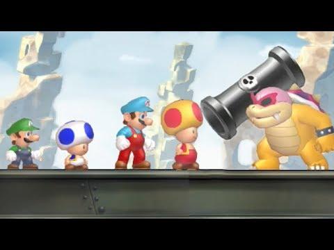 New Super Mario Bros U - All Castle Bosses (4 Players) (видео)
