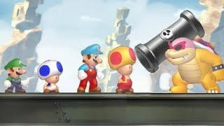 New Super Mario Bros U - All Castle Bosses (4 Players)