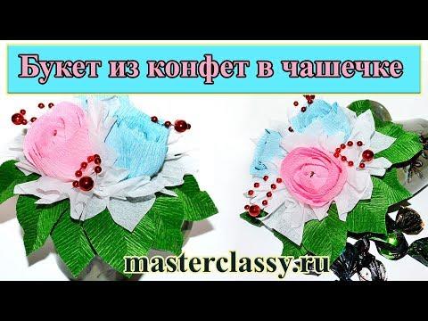 DIY. Sweet design bouquet. Подарок: букет из конфет в чашечке. Видео урок. Свит-дизайн