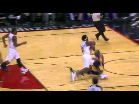 Gerald Wallace scores plus one on Kobe Bryant