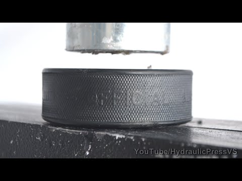 Hockey Puck vs Hydraulic Press - It's a puck, not a ball
