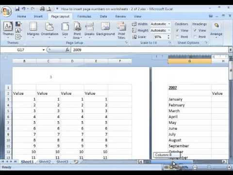 how to start page number on different page excel