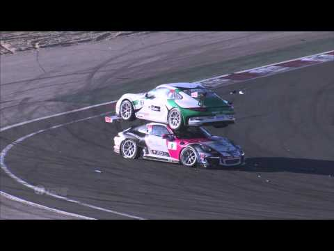 Crazy Accident Leaves Two Race Cars Stacked on Top of Each Other at Porsche Carrera Cup France