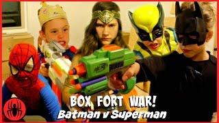 Video BOX FORT WAR! Nerf War Batman v Superman w Kid Deadpool Spiderman SuperHero Kids real life movie MP3, 3GP, MP4, WEBM, AVI, FLV Desember 2018