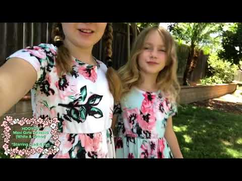 HOOYON Floral Printed Girls Maxi Dresses with Pockets (starring Cadi and Ryli)
