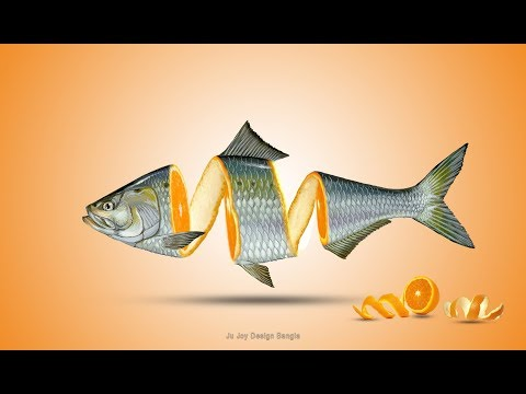 Orange Cutting Fish Manipulation Tutorial In Adobe Photoshop CC By Ju Joy Design Bangla