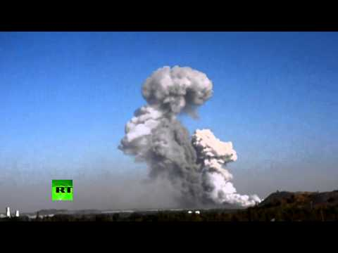 blast - A powerful explosion happened at a military plant in the rebel-held Ukrainian city of Donetsk. A fire is ravaging the devastated facility, which was reportedly hit by two missiles. FULL STORY:...