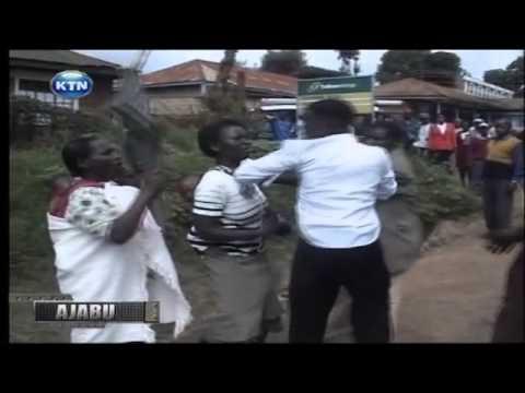 Ajabu : Woman carrying baby slaps husband