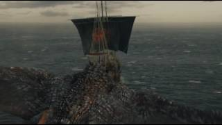 HBO Game of Thrones S06E10 Ending Scene Danaerys Dragons Ships Iron Bourne Game of Thrones