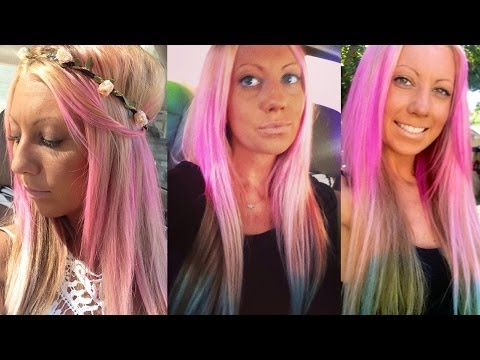 ❤DIY Unicorn Hair - Pastel Pink and Blue Ombre Dyed
