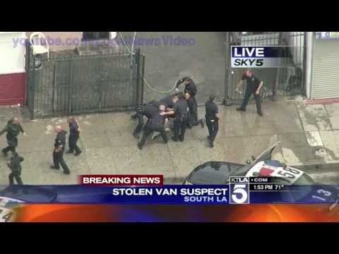 los - Police chase a stolen van in South Los Angeles, California. The suspect crashes into a multiple cars during the dangerous pursuit including a LAPD patrol car...