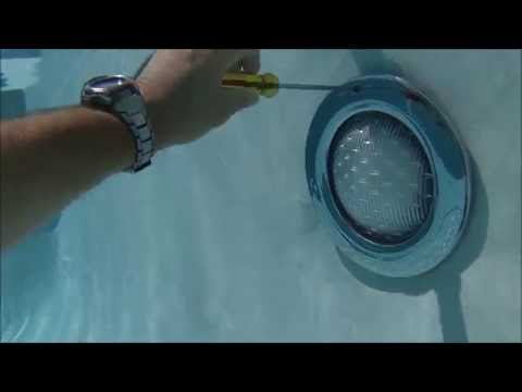 Pool Light Niche- underwater video of light fixture being removed from the niche by Mike the Poolman