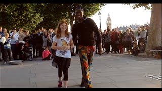 Video Tourist girl from Sweden is challenged by street performers in central London MP3, 3GP, MP4, WEBM, AVI, FLV Maret 2019