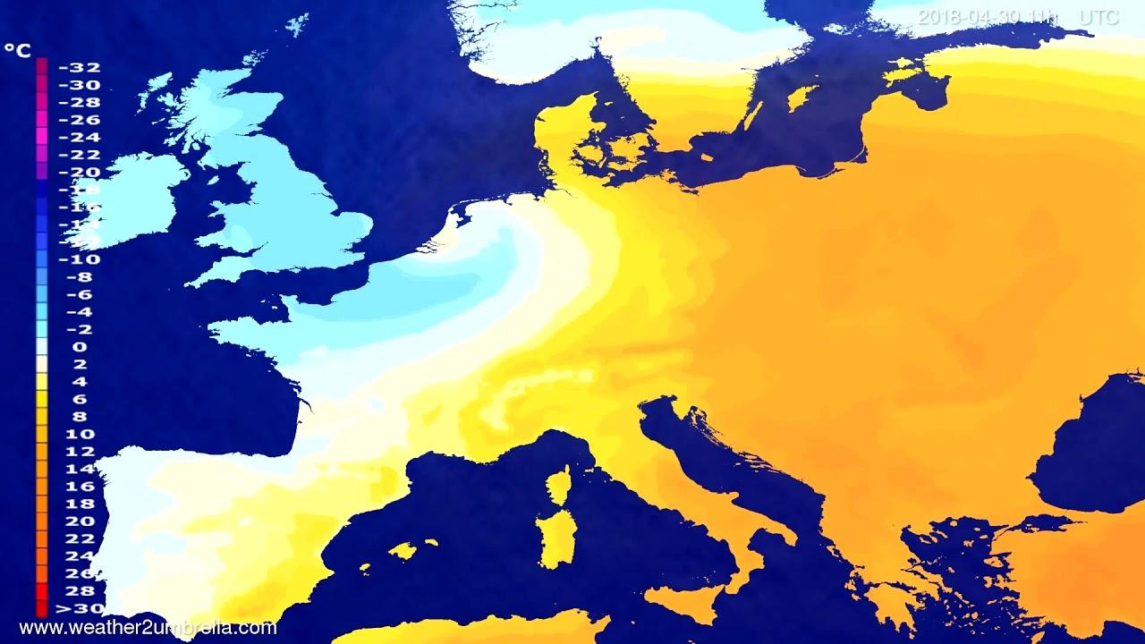 Temperature forecast Europe 2018-04-26