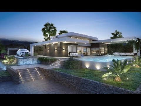 Houses in Spain in modern style high-tech. New high-tech villa in Javea with sea views