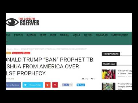 TB Joshua Banned from USA over False Prophecy A Hoax