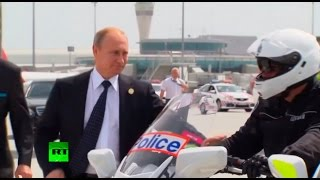 Video RAW: Putin shakes hands with Aussie motorcycle cops before boarding for G20 exit MP3, 3GP, MP4, WEBM, AVI, FLV Oktober 2018