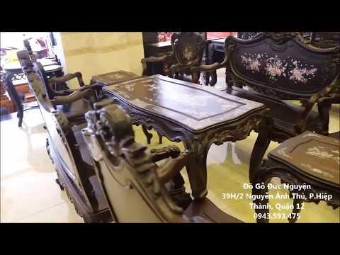 Bàn Ghế Xưa - Bàn Ghế Tân Cổ Điển - Louis Pháp 9 Món Khảm Ốc Ánh Đỏ Lửa