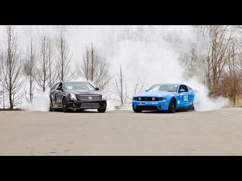 Mustang GT 5.0 & CTS-V tandem burnout