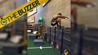 Watch Cal football player Demetris Robertson nail a 63-inch box jump by @The Buzzer