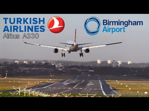 *Rare* Turkish Airlines A330-343 Landing and Takeoff - Birmingham Airport - Beautiful Winter Day