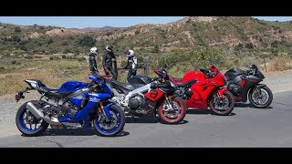 4. Yamaha YZF-R1 vs. Aprilia RSV4 RR vs. Suzuki GSX-R1000 vs. Honda CBR1000RR On The Street Review