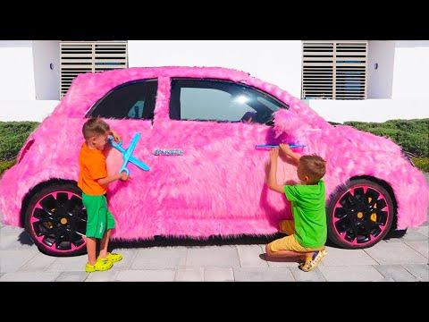 Vlad and Nikita pink car for girls