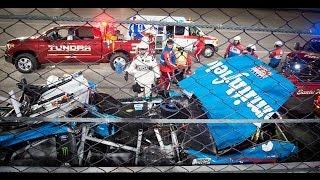 Aric Almirola hurt in big crash with Joey Logano and Danica Patrick