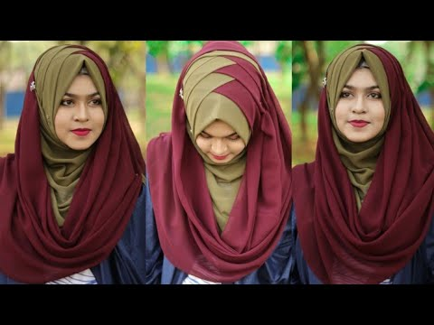 Criss Cross Hijab Style With Chiffon/jorjet Hijab(full Coverage)