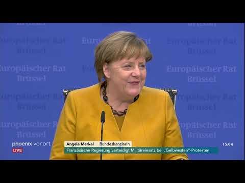 Pressekonferenz von Kanzlerin Angela Merkel zu den Er ...