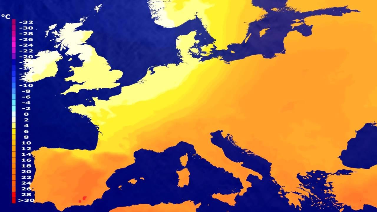 Temperature forecast Europe 2016-06-30