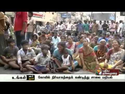 Relatives-of-deceased-children-protest-against-temple-authorities-in-Villupuram