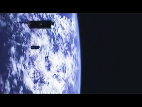 ISRO PSLV-C37 onboard camera view of 104 satellites deployment
