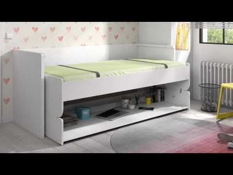 Dance Funktionsbett Weiß inklusive Schreibtisch