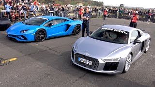Video Audi R8 V10 Plus vs Lamborghini Aventador S MP3, 3GP, MP4, WEBM, AVI, FLV Januari 2019