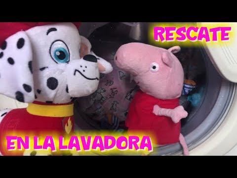 La Patrulla Canina rescata BEBÉ BELLIE de Peppa Pig atrapado en la LAVADORA  Peppa Pig en español