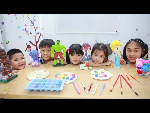 Kids Go To School | Chuns Learn Painting Statue With Friends Children's Of Creativity 2