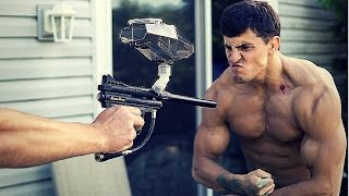 BODYBUILDER VS PAINTBALL GUNS | Challenge Gone Wrong BLOOD | Paintball Fails | Slow Motion Paintball