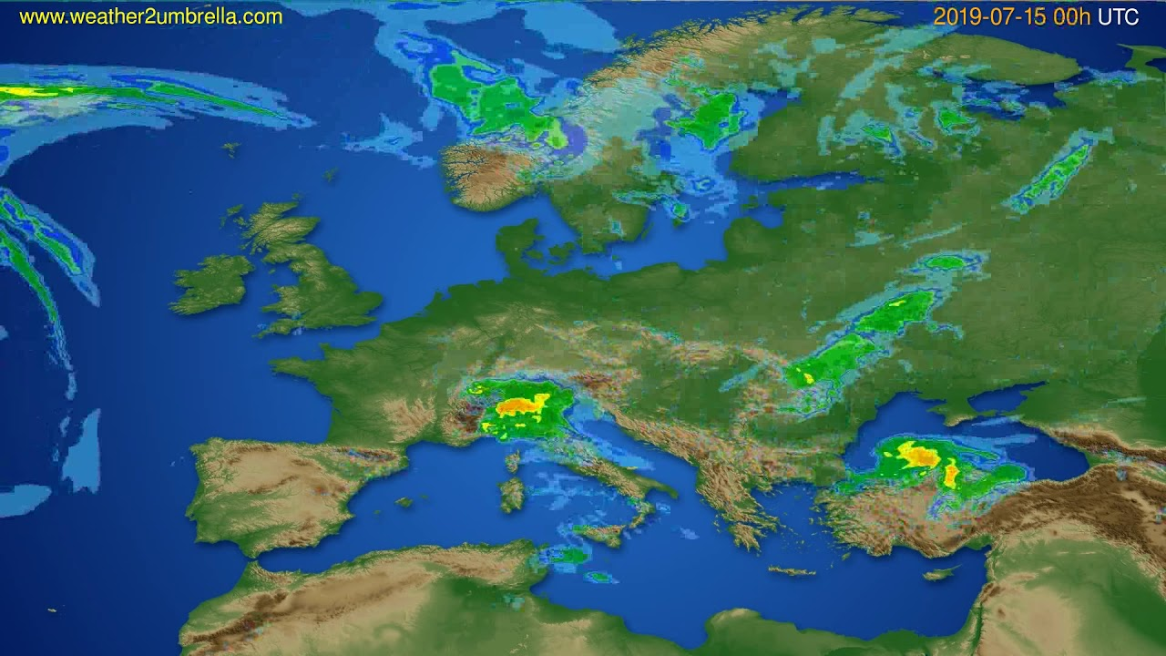 Radar forecast Europe // modelrun: 12h UTC 2019-07-14