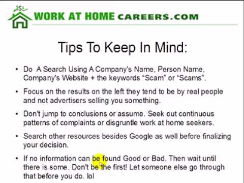 How To Determine If A Company Is A Work At Home Scam