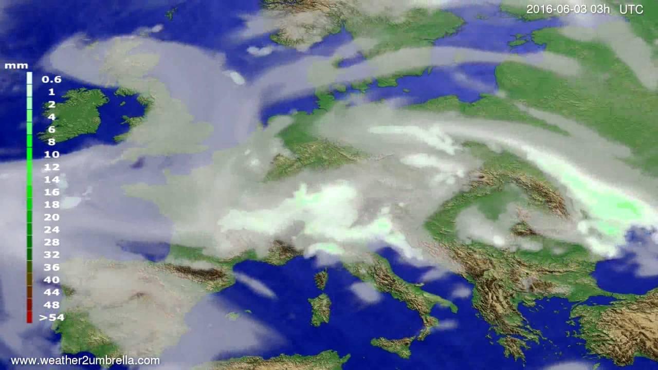 Precipitation forecast Europe 2016-05-31