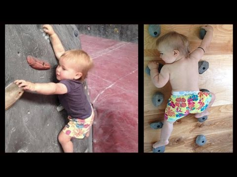 bambina prodigio che scala una parete rocciosa