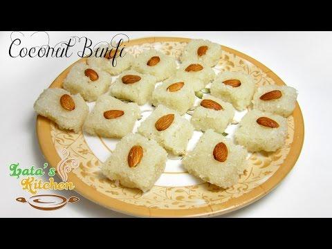 Coconut Burfi Recipe without Khoa — Indian Vegetarian Dessert Recipe in Hindi with English Subtitles