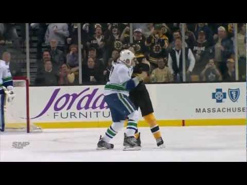 Canucks at Bruins - Line Brawl - 01.07.12 - HD      - YouTube