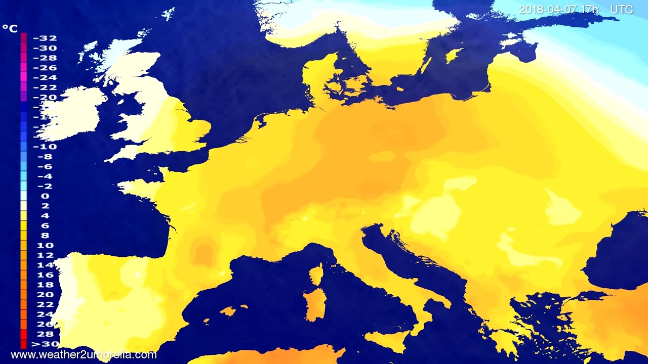Temperature forecast Europe 2018-04-05