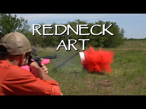 SHOTGUN + Spray Paint + Slow Motion = REDNECK Art